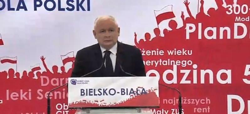 Jarosław Kaczyński na konwencji w Bielsku-Białej