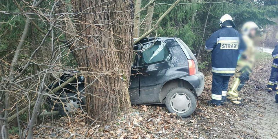 Osobówka uderzyła w drzewo. Są poszkodowani