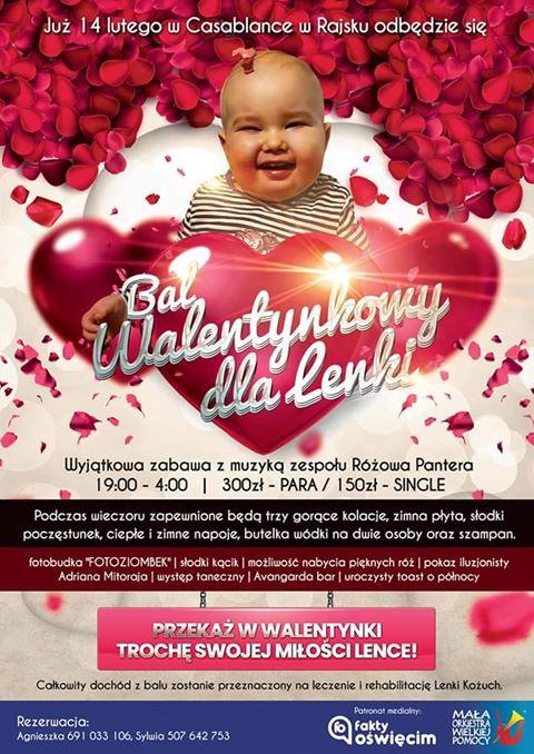 Zaproszenie na bal charytatywny. Można pomóc małej Lence