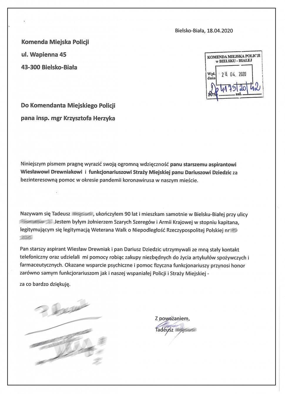 Podziękowania dla bielskiego policjanta od weterana Armii Krajowej