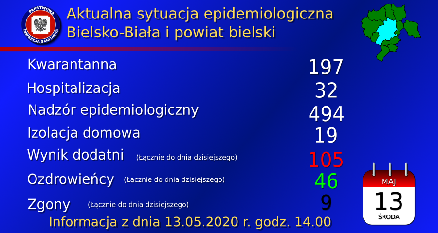 Sytuacja epidemiologiczna w województwie śląskim. 13.05.2020