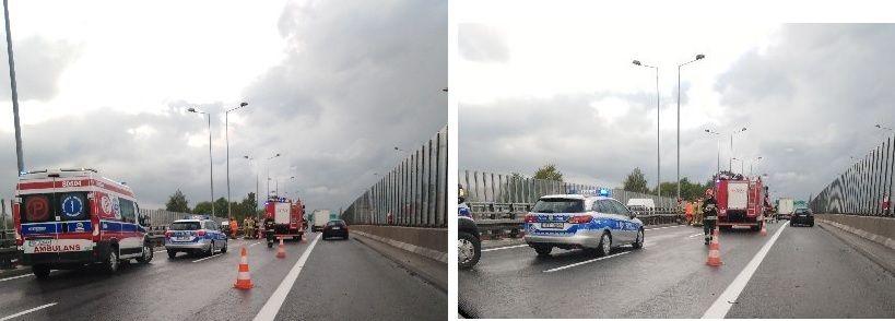Wypadek na S-1. Auto uderzyło w bariery