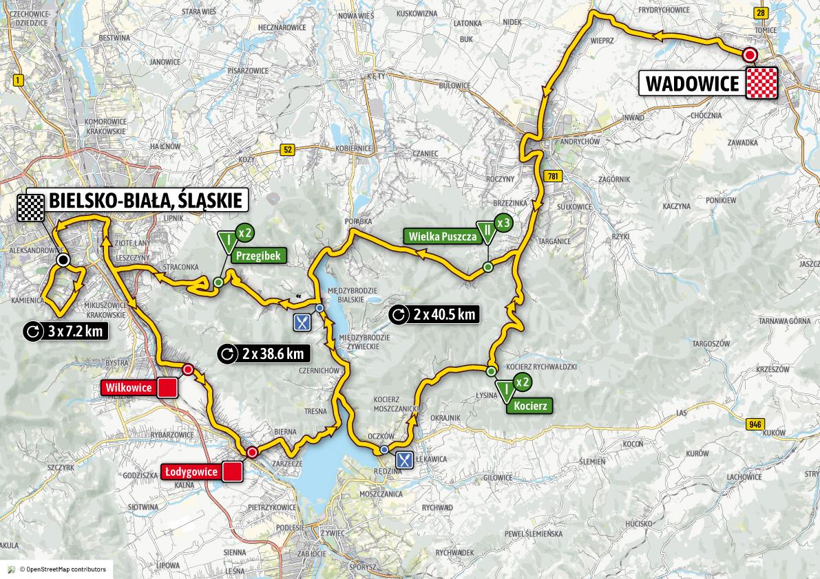 Tour te Pologne - trzeci etap, 7 sierpnia - z metą w Bielsku-Białej