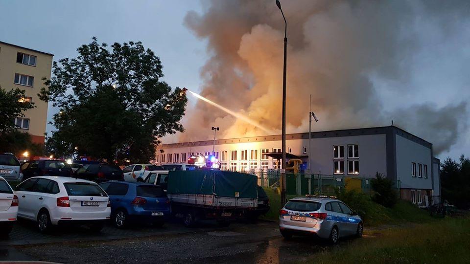Pożar hali w Bielsku-Białej