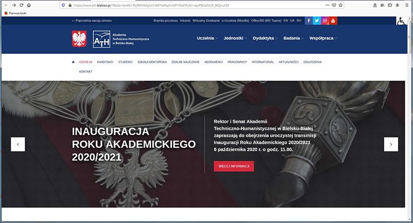 Inauguracja roku akademickiego przez internet