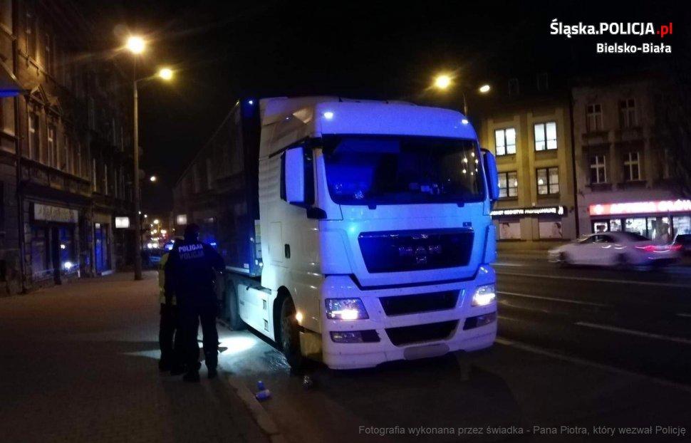 Pijany kierowca tira zatrzymany w centrum Bielska-Białej