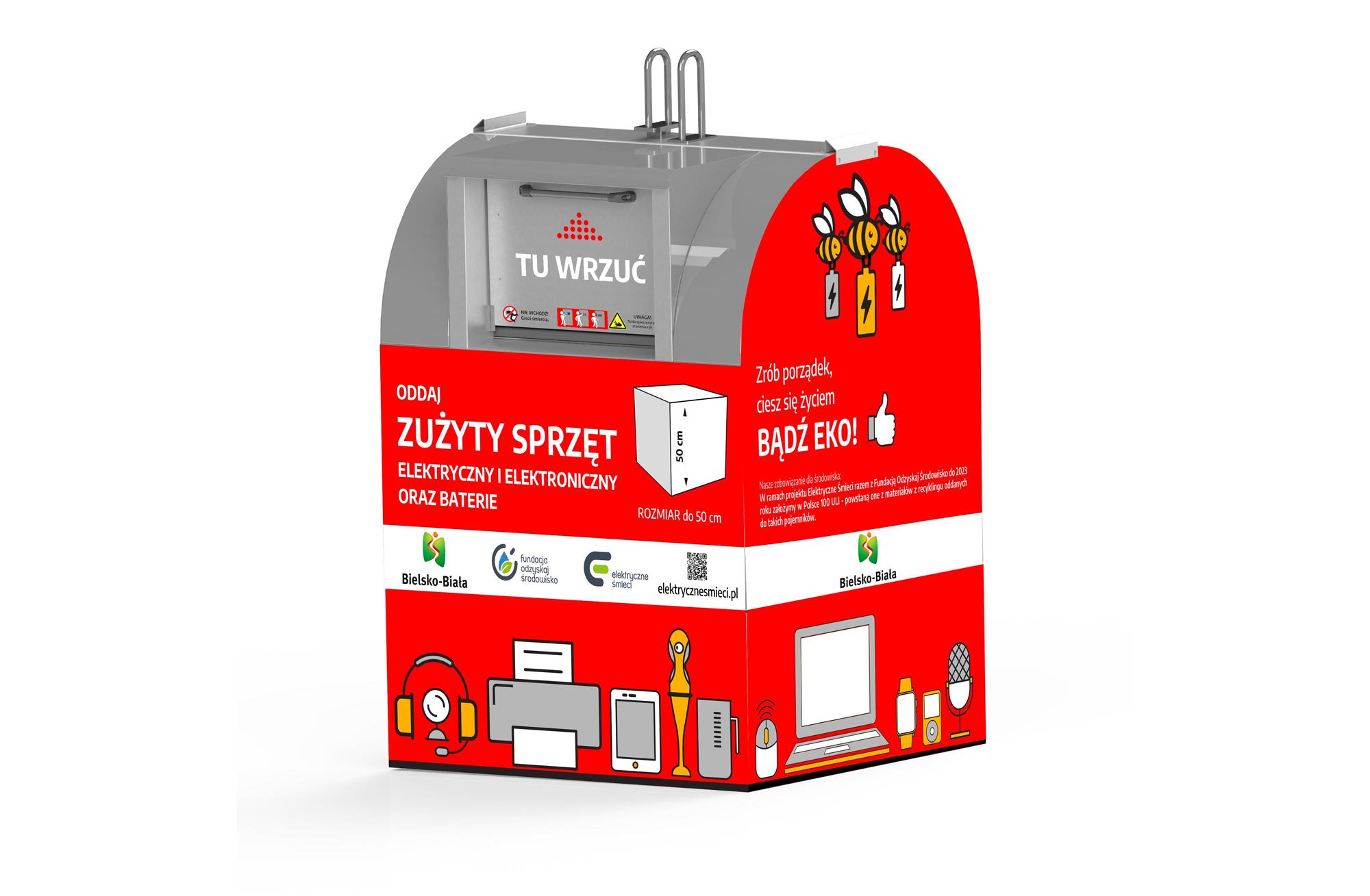 Nowość w Bielsku-Białej: czerwone pojemniki na elektryczne śmieci