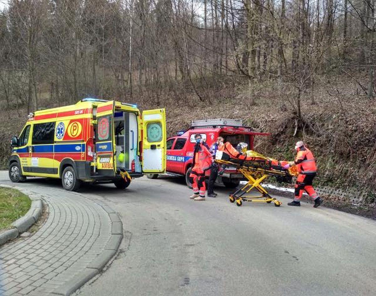 Poważny wypadek rowerzysty