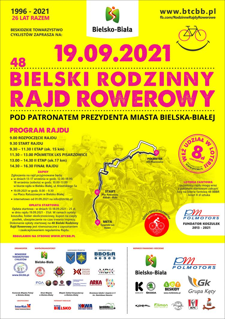 W niedzielę wielki Bielski Rodzinny Rajd Rowerowy.