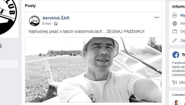 Aeroklub ŻAR żegna pilota, który zginął w sobotę podczas zawodów