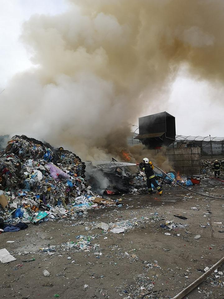 Pożar na składowisku odpadów